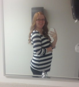 """This picture was taken last week when I was 26 weeks along. This was another """"I feel cute (which is rare) and need a picture of this"""" moment."""